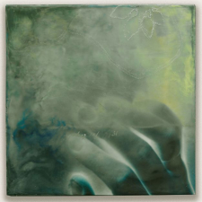 Grasp, 8 x 8 inches, archival pigment print and encaustic on panel